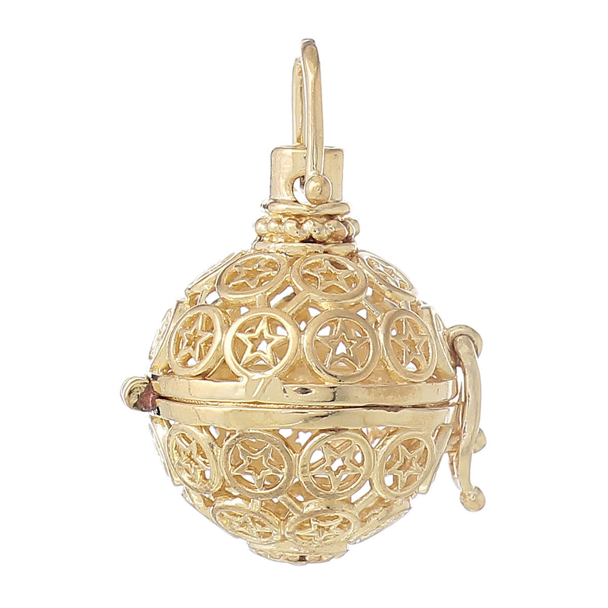 """Copper Charm Pendants Round Wish Box Gold Plated Star Hollow Can Open 35mm(1 3/8"""")x 24mm(1""""),1 Piece 2015 new(China (Mainland))"""