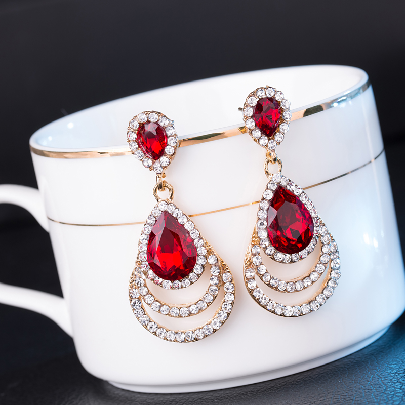 Fashion Crystal Drop Earrings For Women gold Plated Jewelry Earrings Bijoux Luxurious Water Drop earings red green black(China (Mainland))