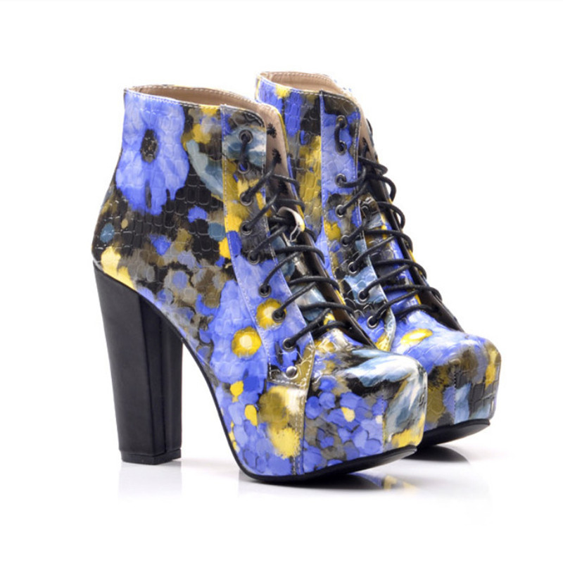 Autumn Winter Printing Leather Ankle Boots Fashion High Heels Women Boots Thick Heel Platform Boots Size 35-40