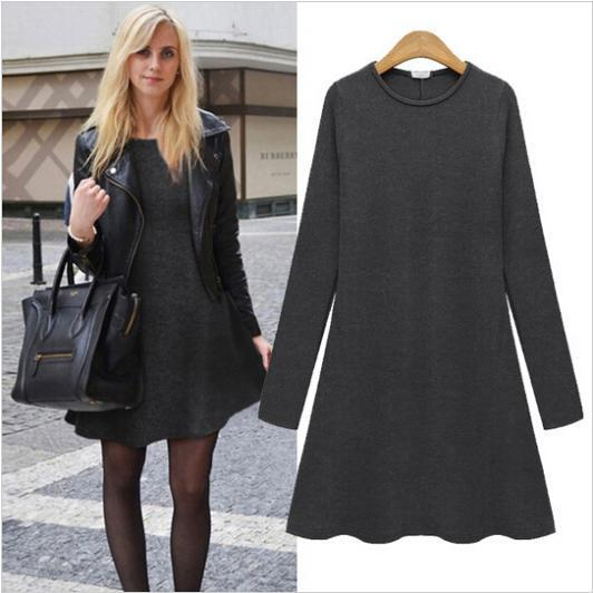 2015 Winter Autumn women dress Long Sleeve casual Bodycon Dresses solid color dresses Vestidos Model Number LYQ0078 - Leisure fashion Online Store store