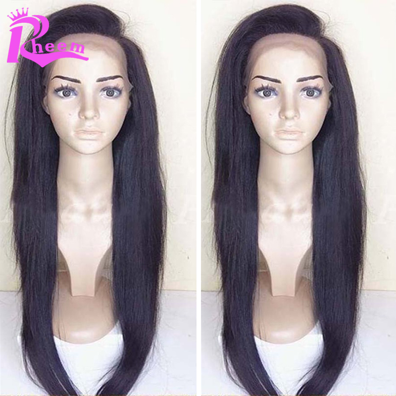 Фотография Cheap Brazilian Full Lace Human Hair Wigs For Black Women Silky Straight Full Lace Wigs With Baby Hair Glueless Front Lace Wigs