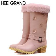 Nuevas mujeres botas de nieve invierno caliente dulce flores talón bajo mitad de la pantorrilla botas con hebilla de zapatos de mujer 2 colorea el tamaño 35-40 1950(China (Mainland))