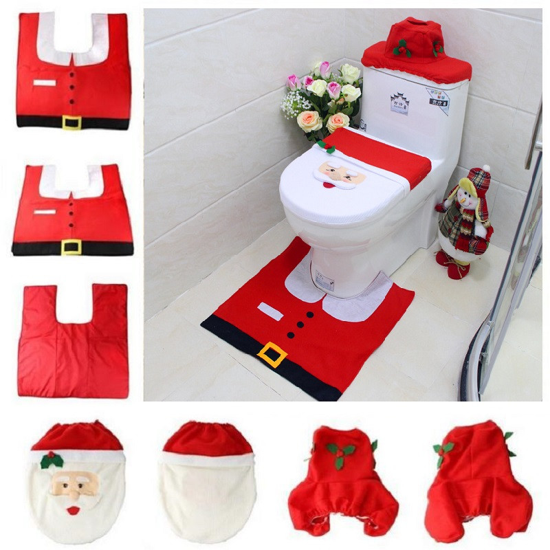 Christmas Toilet Cover 3pcset Santa Toilet Seat Cover Bathroom Rug Carpet Tank Cover New Year home decorations Xmas Decoration