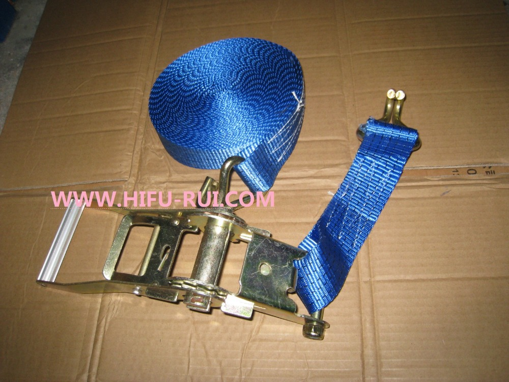 Free shipping! 4000kgx12M cargo transporation ratchet tie down cargo lashing strap with hook(China (Mainland))
