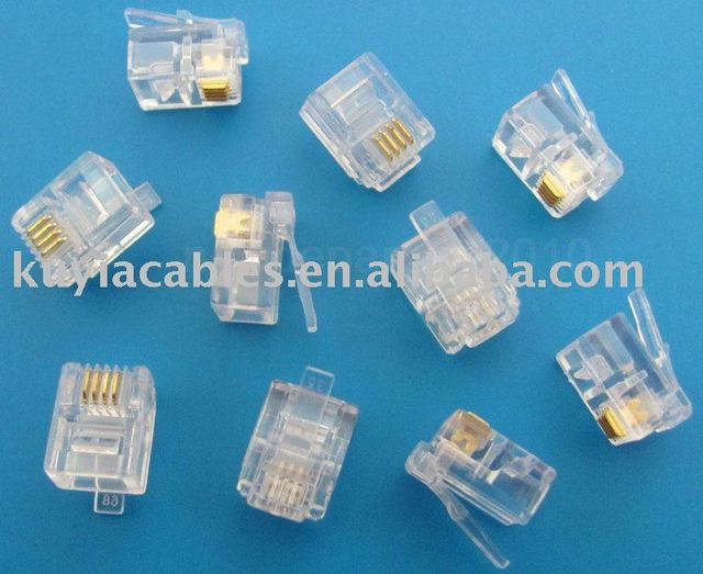 Free Shipping+tracking number+6p4c connector/ rj11 connector/Modular Plug Telephone Connector RJ11 6P4C