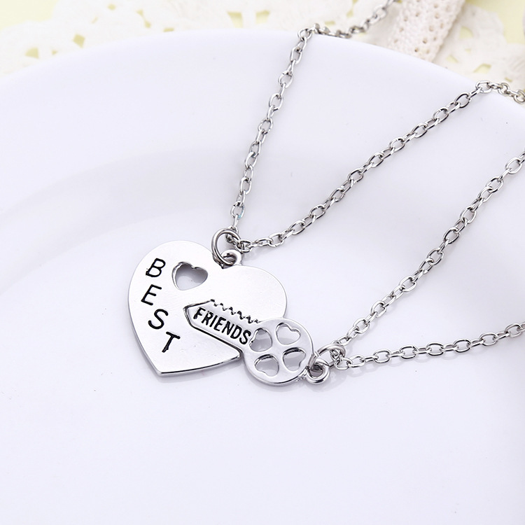 2015 Hot Sale Best Friends Long Chain Necklaces Key Inset Heart Meaning Happy Forever Trendy Jewelry Necklace Womens Necklaces(China (Mainland))