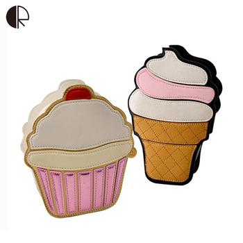 2015 New Women Cartoon Cute Summer Style Ice Cream Cake Chain Crossbody Bags Fashion Handbags Lovely Lady's Messenger Bags BS459
