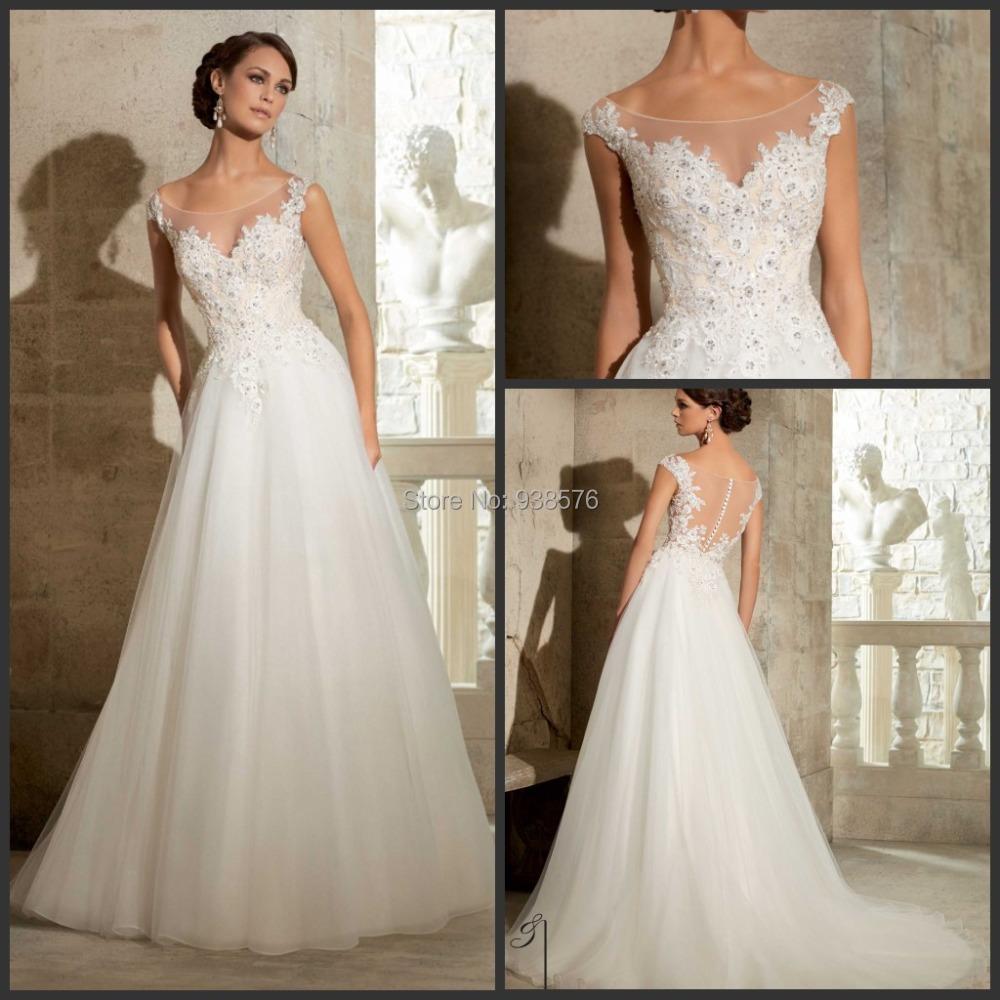 Vestidos de noiva custom white ivory lace appliques for White wedding dresses with long trains
