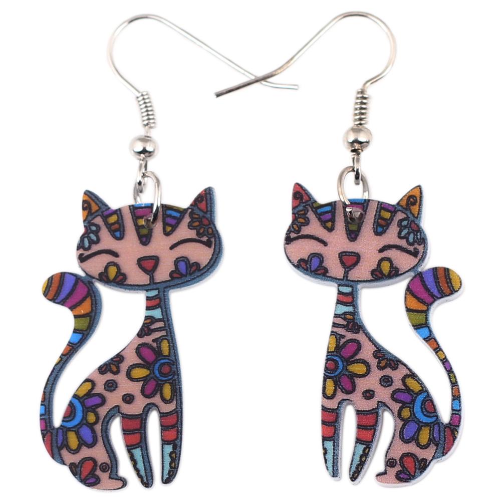 Newei Drop Cat Collar Dangle Earrings Acrylic Pattern New 2015 Charm Girl Woman Jewelry Accessories Fashion Earrings(China (Mainland))