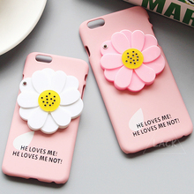 Cute 3D Daisy Flower Mirror Case For iphone 6 Case For iphone 6S 6 PLus Hard Back Cover Makeup Mirror Phone Cases Shell Fundas(China (Mainland))