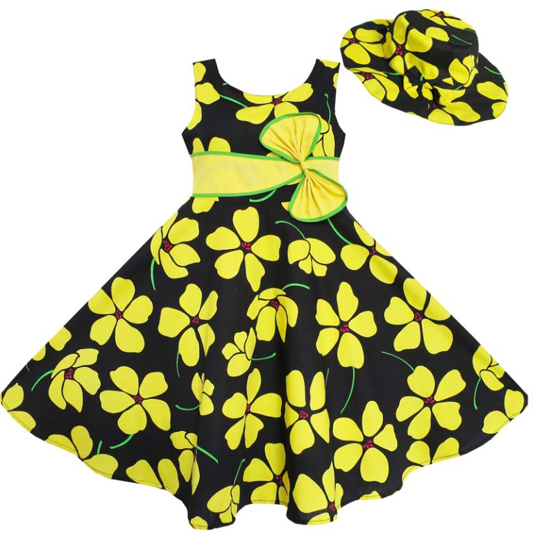 Sunny Fashion 2 Pecs Girls Dress Sun hat Bow Tie Yellow Summer Beach Kids Clothing Christmas Clothes Size 4-12 Girl Dresses(China (Mainland))
