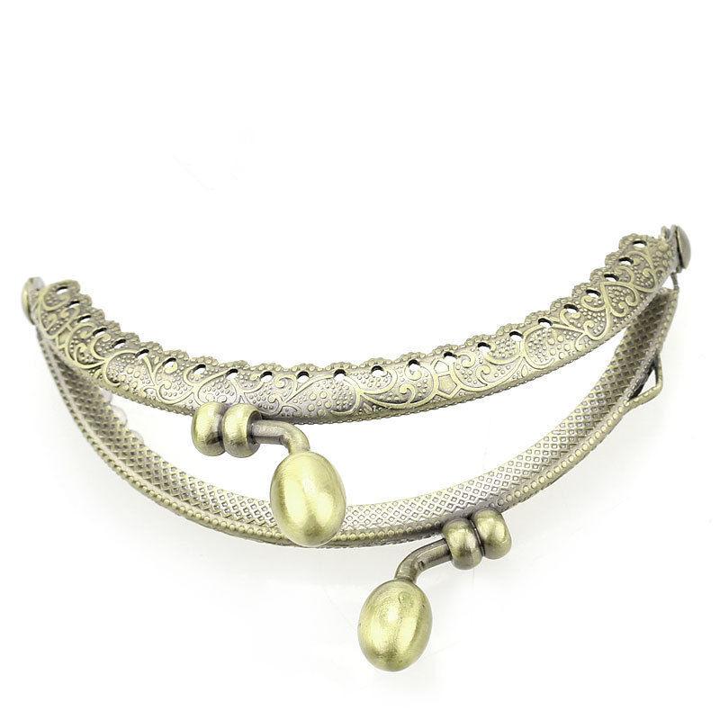 25Pcs Clutch Coins Purse Metal Arc Frame Kiss Clasp Clips Ruffled Handbag Handle Bronze Tone 9x7cm<br><br>Aliexpress