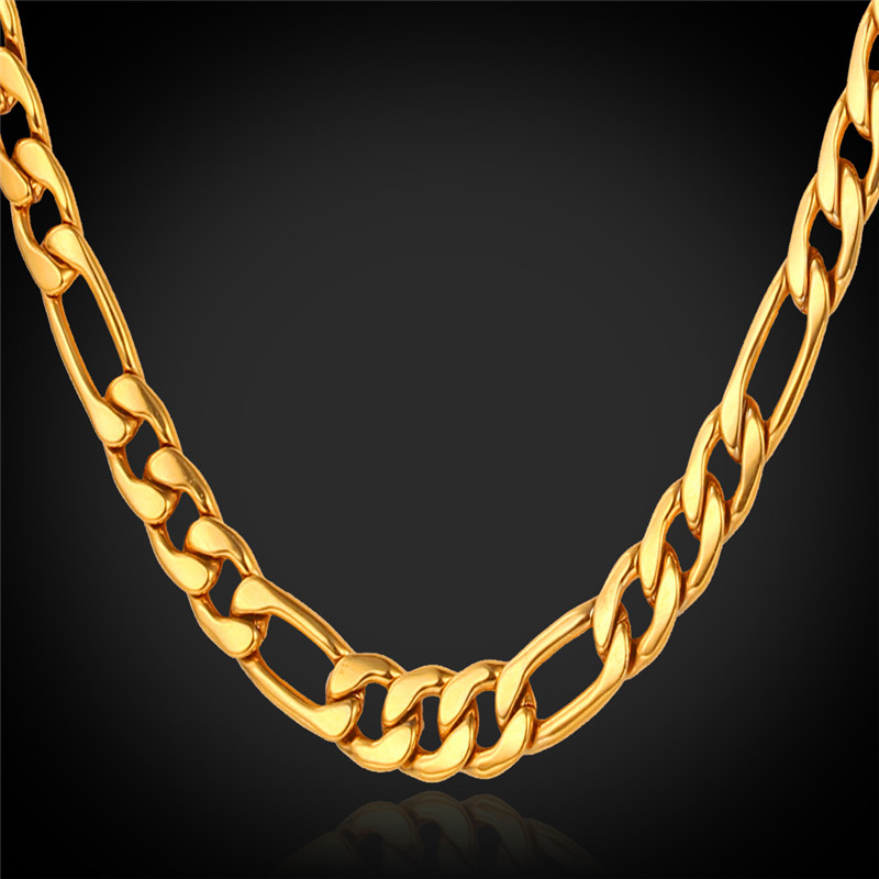 Figaro Necklace Gold Chain For Men High Quality 18K Real Gold Plated Gold Filled African Necklaces 4MM Factory Wholesale N1041(China (Mainland))