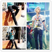 Gd crooked bigbang hole slim casual jeans  free shipping