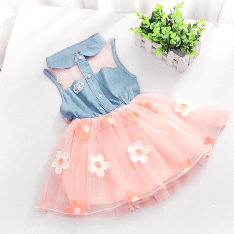 Fashion Baby Kids Girls Denim Dress Sleeveless Shirt Tulle Princess Tutu Dresses 2-7Y(China (Mainland))