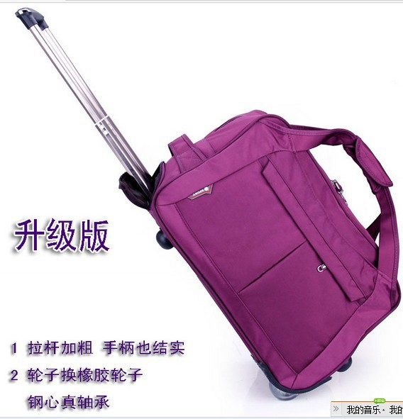 free shipping,2013 plaid large capacity rod portable oxford high quality waterproof rolling trolley trolley luggage bag 6 color(China (Mainland))