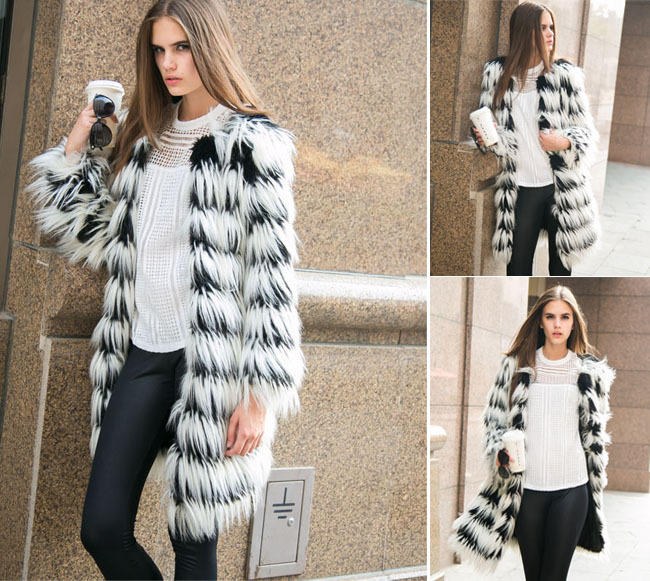 Hot Fashion Women Hairy Shaggy Faux Fox Fur O-Neck Contrast Gradual Color Striped Jackets Long Coat Outerwear SUPER QUALITY - Sexy Woman Line store