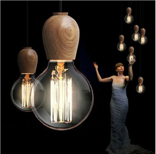 Wood lamp simple LED E27 socket lamps Hanging wood holder pendant light Messenger wire Droplight of the ceiling(China (Mainland))