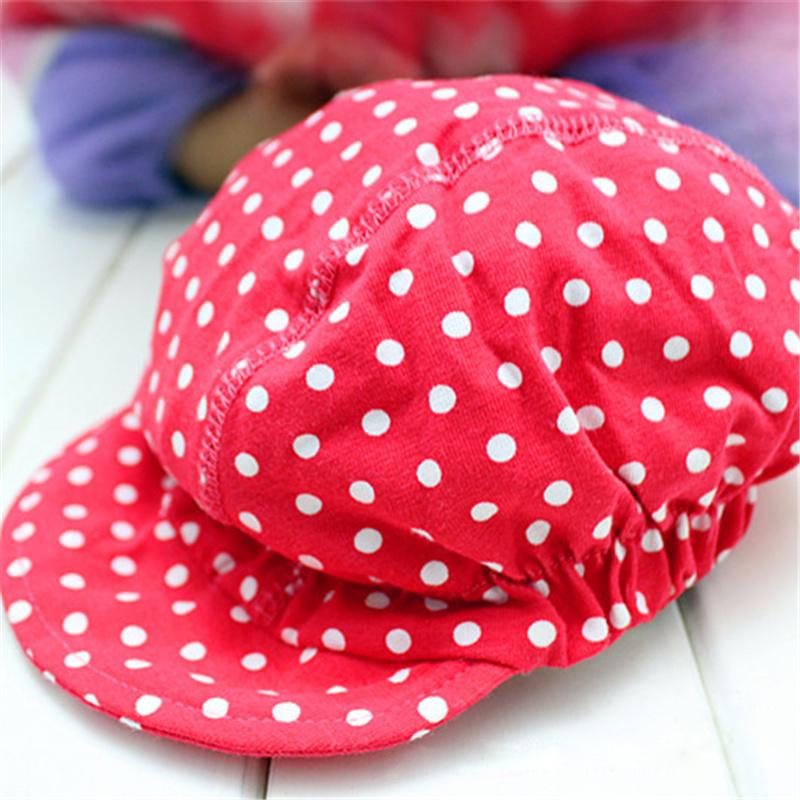 Promotion 2015 New Arrival Spring/summer Baby Hat Cotton Adjustable Dot Baseball Cap Child Boys Girls Snapback Sun Hats 0-3y(China (Mainland))