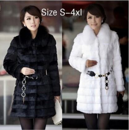 2015 Winter Women's Fashion Rabbit Fur Coat with Fox Fur Collar Outwear Lady Garment Plus Size S-4XL(China (Mainland))