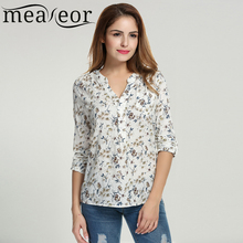 Meaneor Women Floral Print Blouse Tops 1950s 60s Vintage Autumn Clothing Casual Roll Up Sleeve Cotton Fabric High Quality Blouse(China (Mainland))