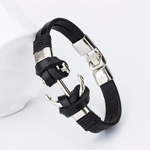 Buy New Arrival Pirate Style Alloy Stainless Steel Anchor Bracelet Men Genuine Cow Leather Bracelet Jewelry Best Friend Gift for $1.43 in AliExpress store