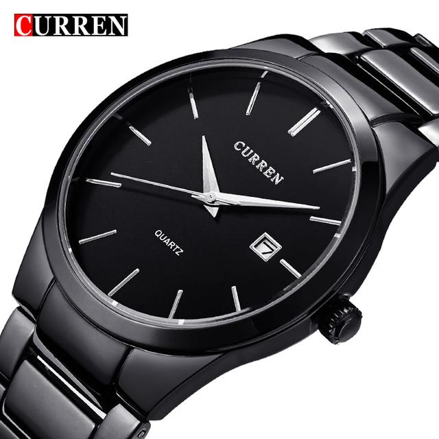2016 нью-curren кварцевые Tag черный полные моде свободного покроя часы мужчин бизнес мужской Relojes хомбре простой наручные часы подарок