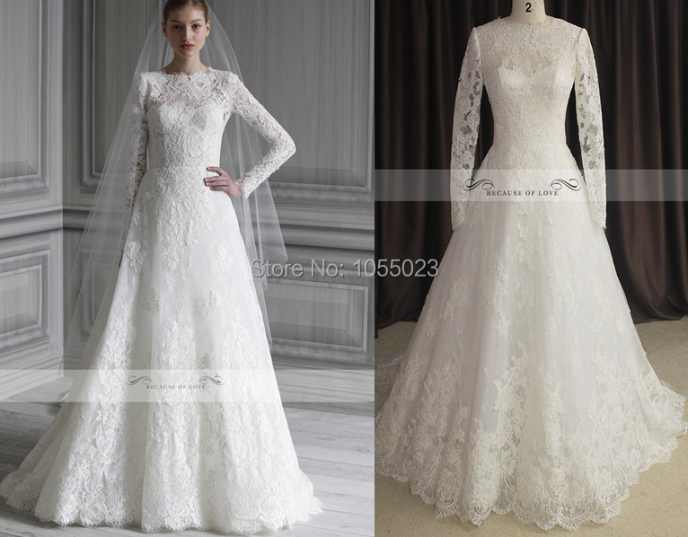 2014 hot sale real a line lace long sleeve winter wedding for Long sleeve wedding dress for sale
