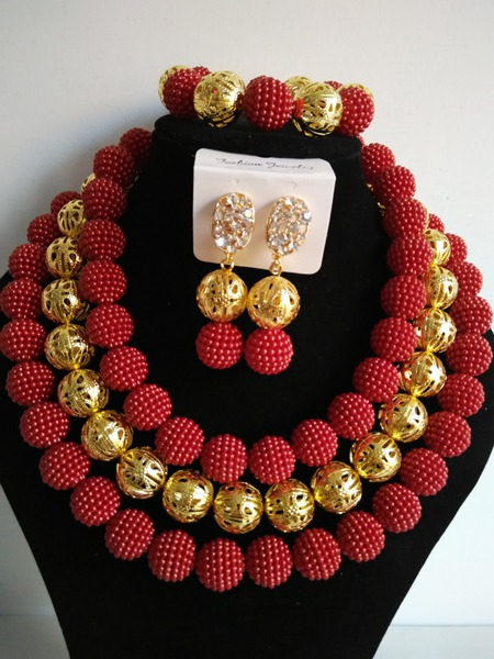 Fashion African beads jewelry set red beads bride jewelry nigerian wedding african beads jewelry Set GG-82<br><br>Aliexpress