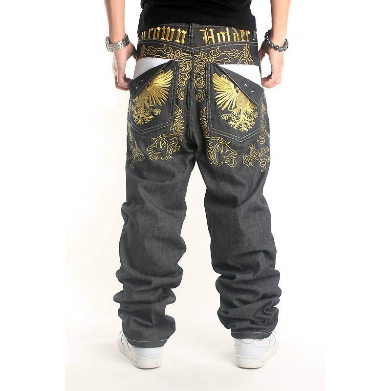 2016 New Fashion Mens Loose Fit American Baggy Hip Hop Denim Jeans Original Black Colour Street Wear For Skteboard Plus Size 42