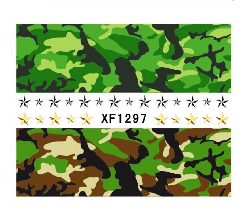413 Top Nail 1piece Fresh Cool Army Green Star Nail Sticker Water Transfer Design Nail Art Decorations Nail Accessories SH604(China (Mainland))