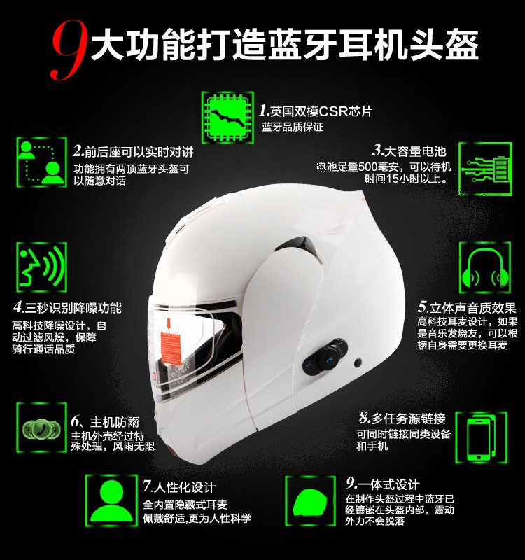 new Motorcycle Bluetooth Helmet ORICINE CE Authenticate Bluetooth Helmet Stereo Headphone Waterproof Wireless as good as LS2370