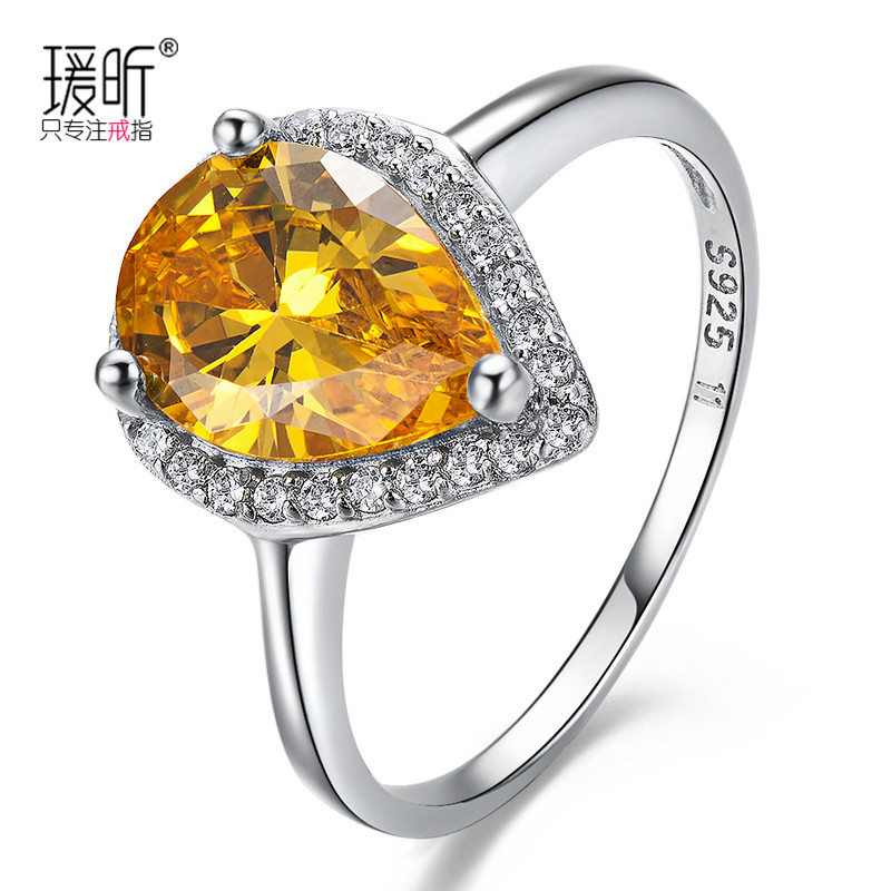 Natural yellow crystal gem ring fashion high quality personality female fashion finger ring multicolored gift silver jewelry(China (Mainland))