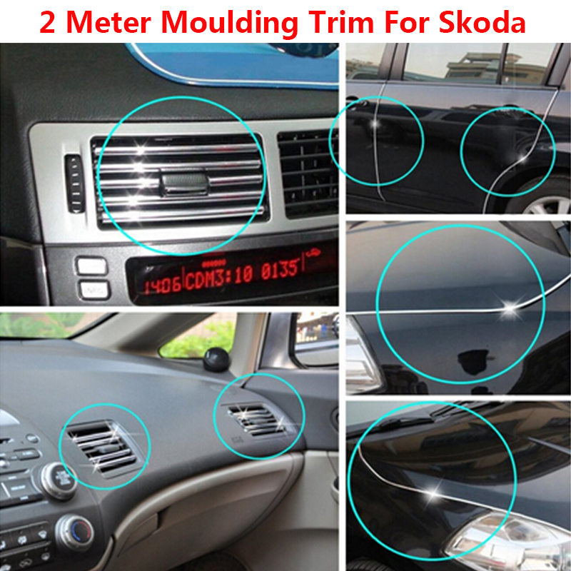 2 meter chrome car grilles door edging air condition vent protector molding trim decoration. Black Bedroom Furniture Sets. Home Design Ideas