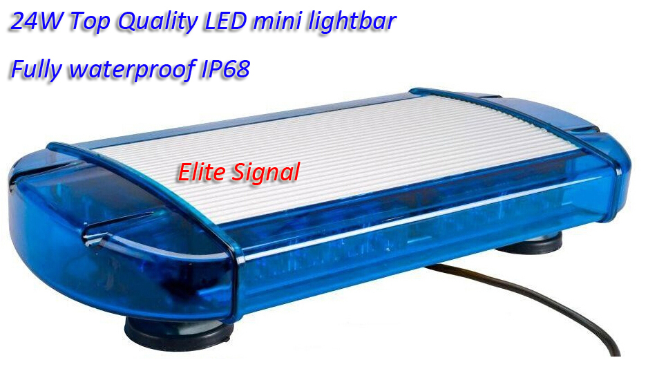 Free shipping Hot sale 24W Top Quality LED mini lightbar with 24PCS 1W LED, high quality aluminum, blue lens, fully waterproof(China (Mainland))