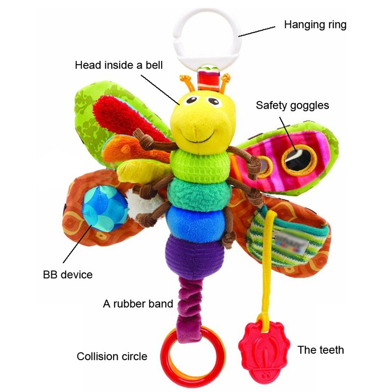 Lamazes' Toy Fashion bed around new Baby mobile Musical Inchworm Plush toy toddler Infant kids toys butterfly Wrist Rattle(China (Mainland))