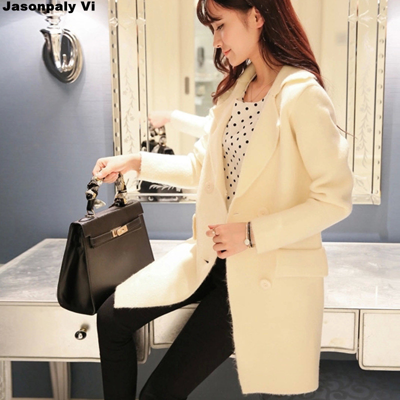 women cardigan 2016 autumn winter new fashion In the long section women sweater long sleeve knitted coat pull femme warm KK121