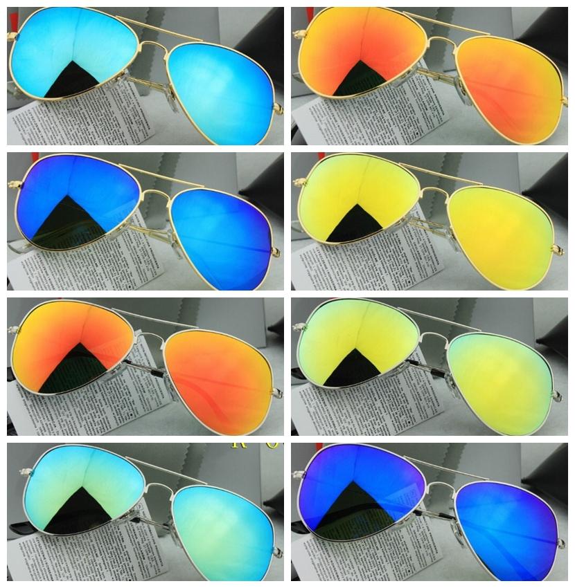 Hot sell 2015 Mens Womens Designer Aviator Ray Sunglasses Red Reflect Mirror 58mm Glass Lenses 3025 Eyewear RB Sun Glasses(China (Mainland))