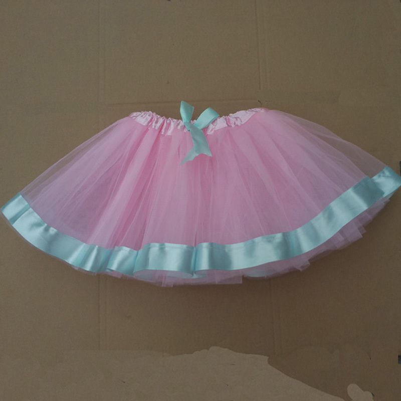 Summer style Baby Girl Pink Tulle Tutu Skirt With Ribbon Kids Wear Tutu Skirt For Birthday Party Retail And Free Shipping(China (Mainland))
