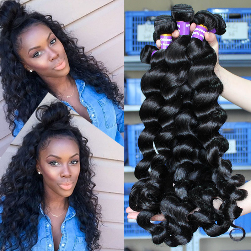 6A Brazilian Virgin Hair Loose Wave 3 Pcs Sunny Queen Hair Products Brazilian Human Hair Weave Bundles Loose Curly Wave Hair(China (Mainland))