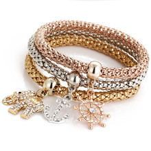 Buy Gold/Silver/Rose Gold Color Elastic Chain Full Rhinestone Crystal Elephant/Anchor Charm Bangle Bracelets for $3.32 in AliExpress store