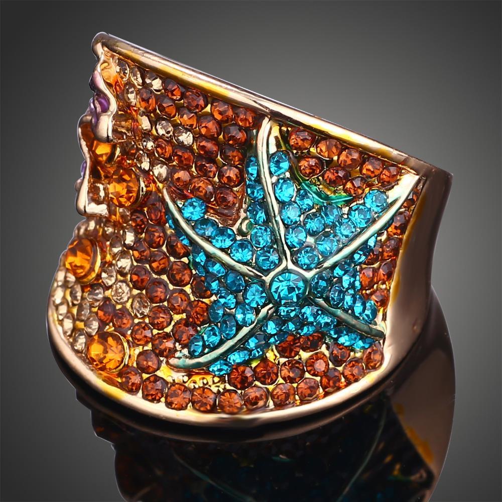 Gold Plated Blue Austrian Rhinestone Crystal Imitation Diamond Starfish Rings Jewelry for Women Free Shipping()