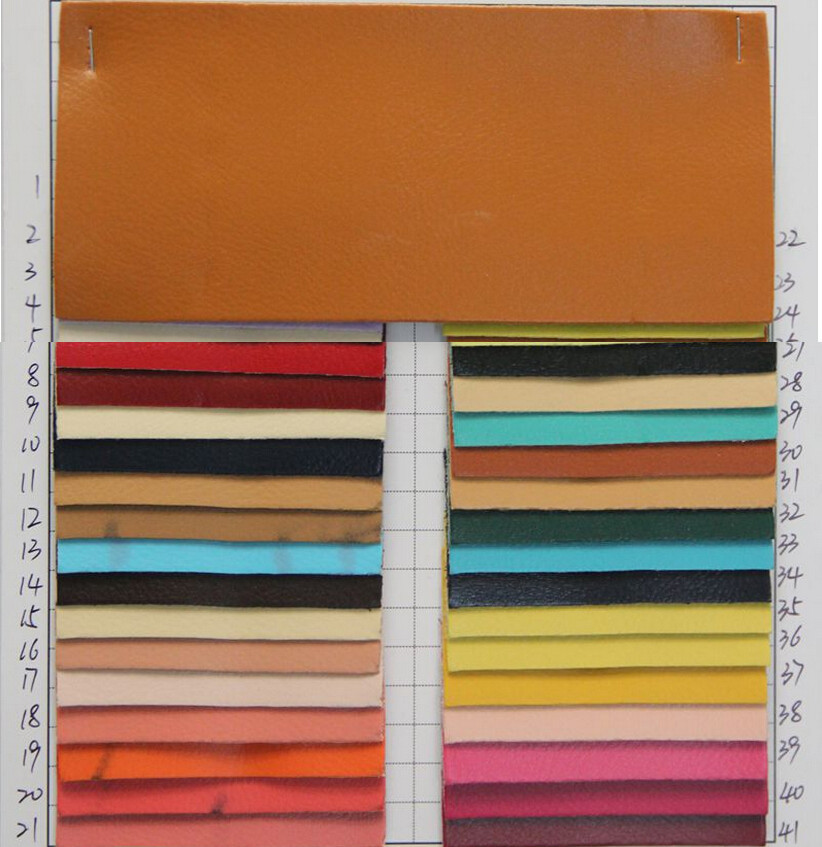 factory wholesale synthetic PVC leather Buffalo grain leather fabric/ many colors/ free shipping/ cheap price leather material(China (Mainland))