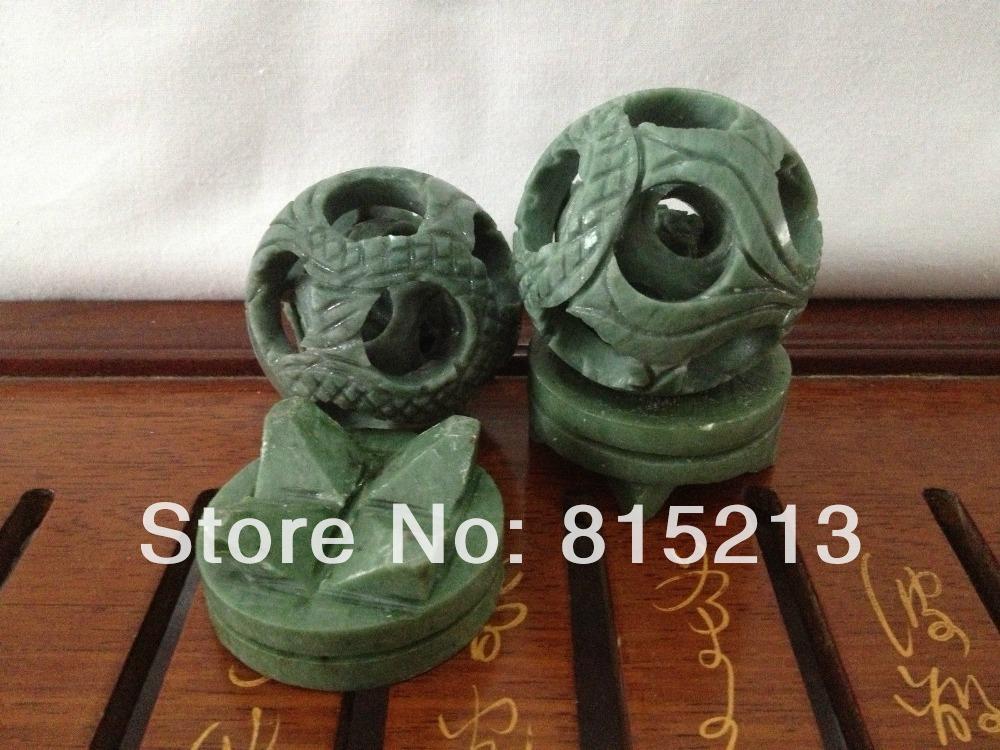 bi00724 100% Chinese Natural jade 2pcs Hand-carved 3 layers Puzzle Ball(China (Mainland))
