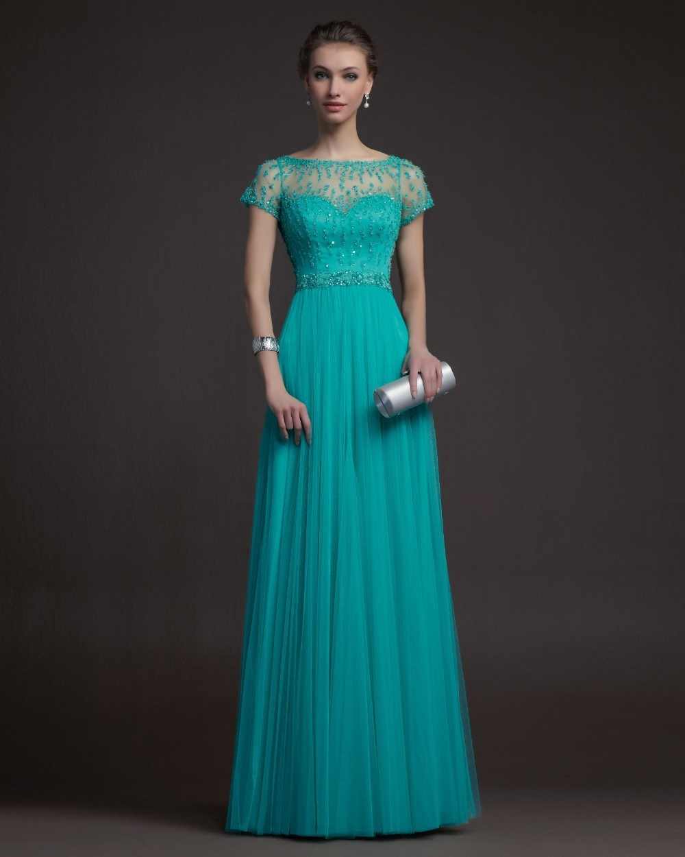 Free shipping new teal tulle long elegant prom formal gown for Sarah seven used wedding dress