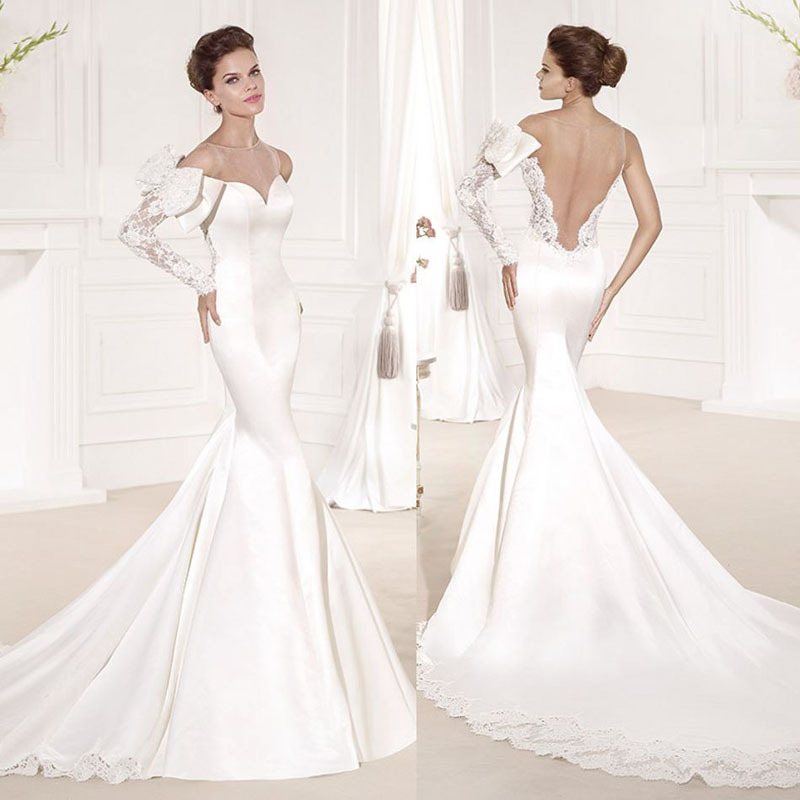 New mermaid scalloped lace bow open back court train for Open back bow wedding dress
