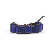 צ 'אקרה צמיד תכשיטי עבודת יד רב צבע טבעי אבן צינור חרוזים עור גלישת צמידי זוגות Creative מתנות Dropshipping(China)
