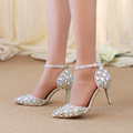 Pointed Toe Rhinestone Shoes Summer Sandals Ankle Straps Lady Kitten Heel Shoes AB Crystal Wedding Party