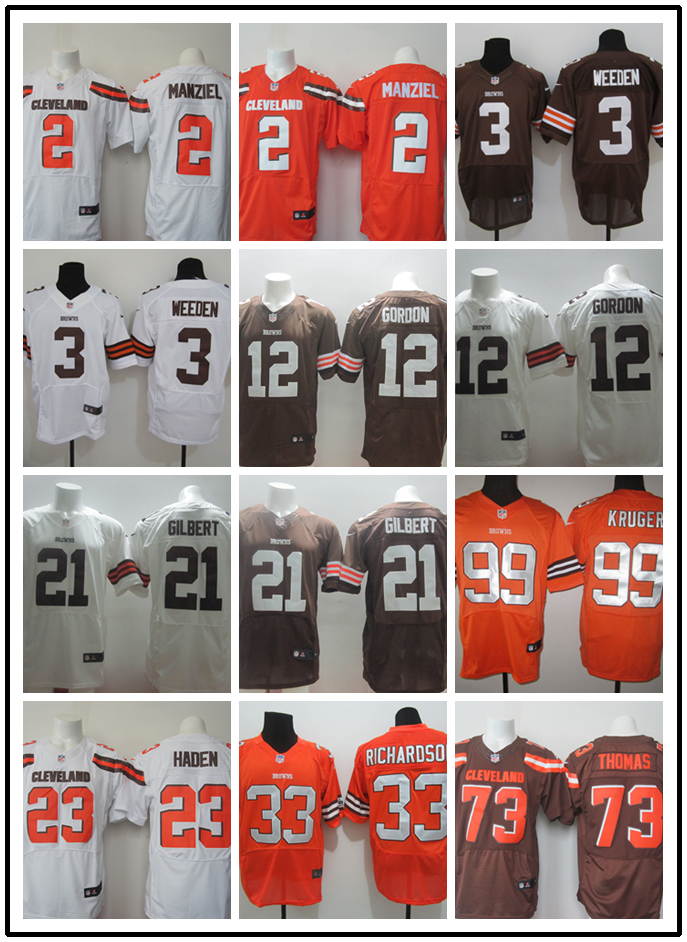 Stitiched,Cleveland Browns Johnny Manziel Brandon Weeden Josh Gordon Justin Gilbert Joe Haden Browns RICHARDSON Joe Thomas()