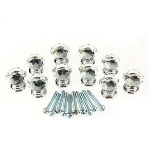 100% New 10 Pcs 20mm Crystal Glass Clear Cabinet Knob Drawer Pull Handle Kitchen Door Wardrobe Hardware<br><br>Aliexpress